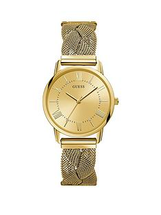 guess-guess-sun-champagne-dial-gold-braided-mesh-stainless-steel-strap-ladies-watch
