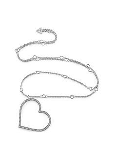 guess-guess-open-crystal-set-heart-long-silver-necklace
