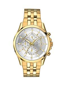 prod1088039311: Silver and Gold Detail Chronograph Dial Two Tone Stainless Steel Bracelet Mens Watch
