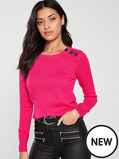 v-by-very-button-rib-detail-jumper-hot-pink