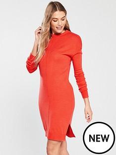 v-by-very-zip-shoulder-step-hem-knitted-dress