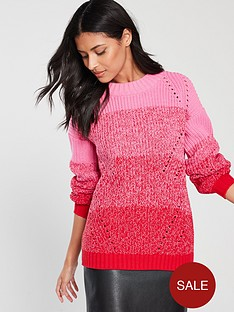 v-by-very-ombrenbspthick-knit-twist-jumper-pinkred