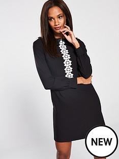 v-by-very-daisy-trim-collar-detail-a-line-dress-blackwhite