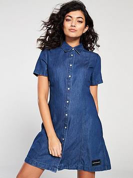 48bbb31176 Calvin Klein Jeans Tencel Short Sleeve Dress - Dark Indigo ...