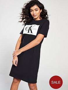 calvin-klein-monogram-t-shirt-dress-black