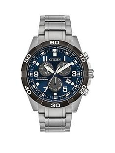 citizen-eco-drive-perpetual-calendar-blue-dial-chronograph-titanium-bracelet-mens-watch