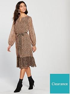 Wallis Ditsy Animal Midi Dress - Leopard Print 4607833b4
