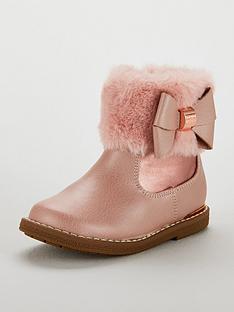 e6a9a9b498b84 Baker by Ted Baker Girls Faux Fur Cuff Boots - Rose Gold