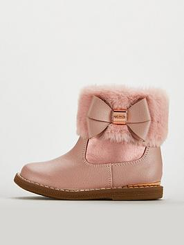 2eabdd353 Baker by Ted Baker Girls Faux Fur Cuff Boots - Rose Gold ...