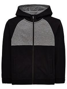 fe8965d0aea8 V by Very Boys Zip Through Cut And Sew Raglan Hoodie - Black Grey