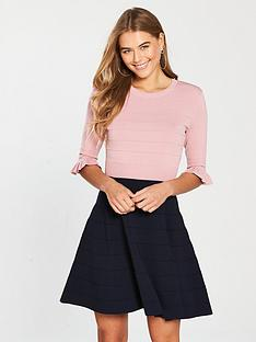 ted-baker-dyana-frill-knitted-dress-pinkblue