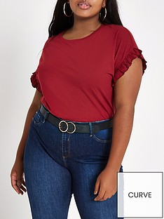 ri-plus-frill-sleeve-t-shirt-oxblood