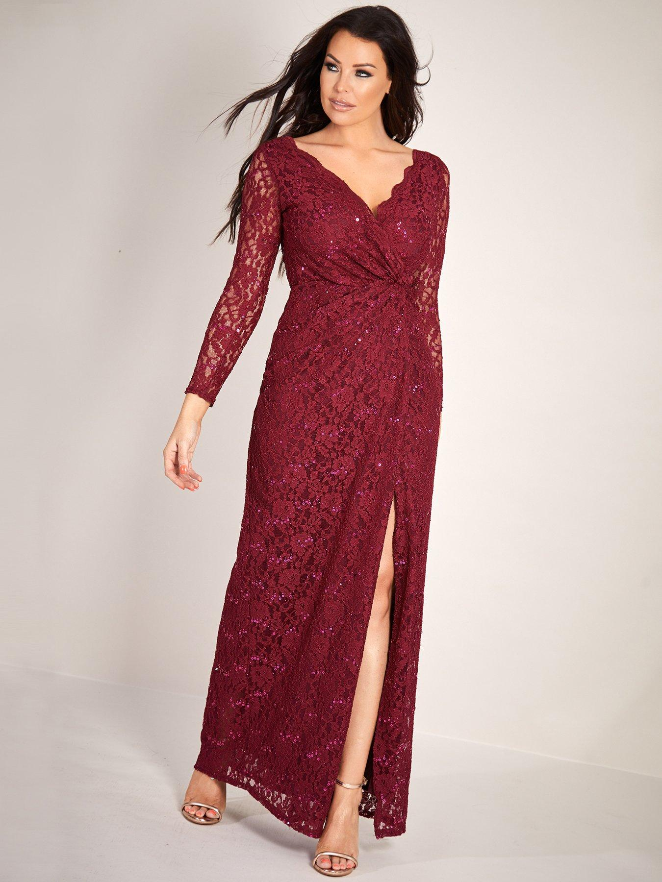 Berry Sequin Prom Dress