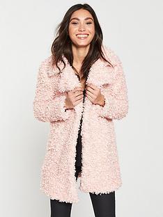 618b246c45728 River Island Curly Faux Fur Coat- Pink