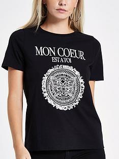 ri-petite-foil-print-t--shirt-black