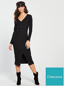 4ccd267a071 River Island River Island Button Front Jersey Midi Dress - Black ...
