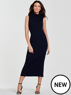 michelle-keegan-premium-knitted-roll-neck-dress-navy