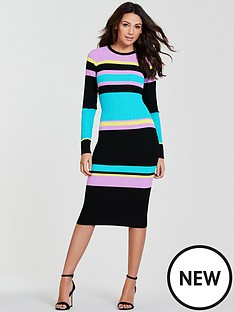 michelle-keegan-ribbed-knitted-jumper-dress-stripe