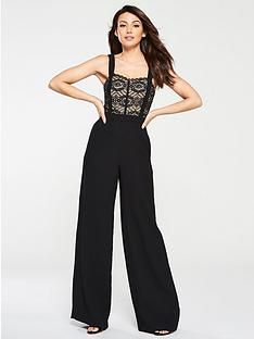 7b2f23caf44 Michelle Keegan Lace Top Wide Leg Jumpsuit - Black