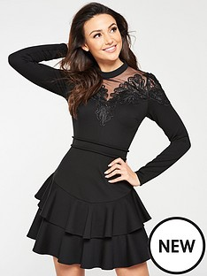 michelle-keegan-lace-and-mesh-detail-skater-dress-black