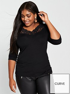 v-by-very-curve-lace-trim-neck-top-black