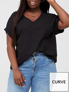 v-by-very-curve-v-neck-turn-back-cuff-t-shirt-black