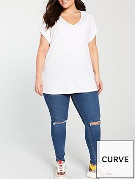v-by-very-curve-valuenbspv-neck-turn-back-cuff-t-shirt-white