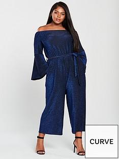 5638c1f6bd9 AX PARIS CURVE Bardot Sparkle Wide Leg Jumpsuit - Blue