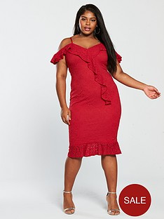 ax-paris-curve-curve-lace-frill-detail-midi-dress-red