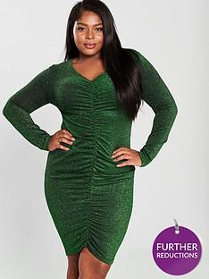 ax-paris-curve-v-neck-ruched-detail-sparkle-midi-dress-green