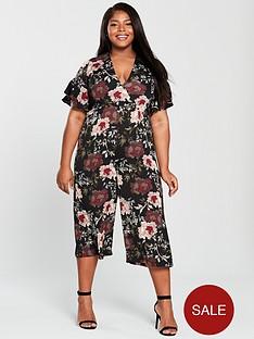 4c982265c644 AX PARIS CURVE Floral Print Culotte Jumpsuit - Multi