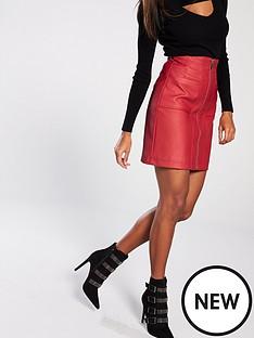 v-by-very-pu-mini-skirt-red