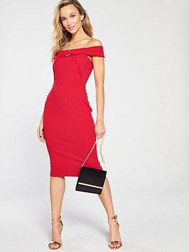 e6d959eeb19 Girls on Film Scuba Crepe O Ring Bardot Bodycon Midi Dress - Red ...