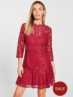little-mistress-petite-long-sleeve-lace-skater-mini-dress-red