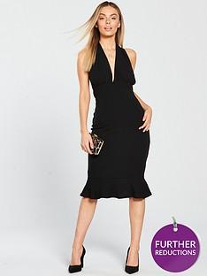 ax-paris-petite-halternecknbspdeep-v-neck-frill-hem-dress-black