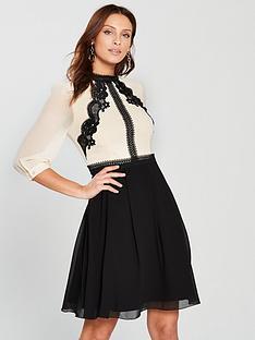 9f0ff61d7ce7 Little Mistress Lace Trim Mini Dress - Cream Black