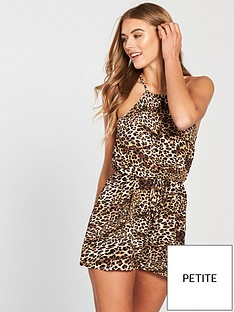 4468581c17 AX Paris Petite Petite Printed High Neck Playsuit - Leopard