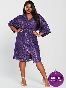 little-mistress-curve-kimono-sleeve-twistnbspsequin-dress-purple