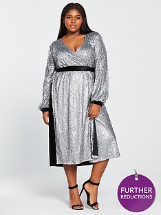 little-mistress-curve-sequin-belted-midi-dress-slate