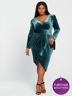 little-mistress-curve-long-sleeve-embroidered-velvet-wrap-dress-teal