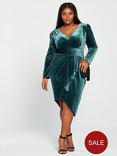 little-mistress-curve-long-sleeve-embroidered-velvet-wrap-dress-teal