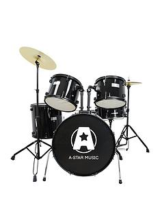 rocket-5-piece-rock-drum-kit-in-black-with-free-online-music-lessons