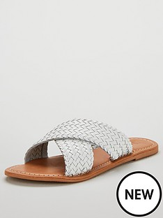 37b00e832389 V by Very Heidi Leather Cross Strap Sandal - White