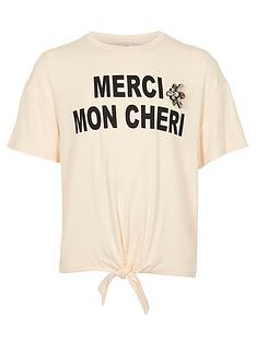 river-island-girls-cream-lsquomercirsquo-print-tie-front-t-shirt