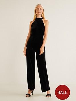 92bb3ae7d03 Mango Halter Neck Velvet Jumpsuit - Black
