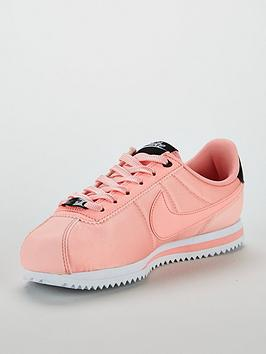 new arrivals 00144 1744b Nike Cortez Basic Text Valentines Day Junior Trainers - Pink
