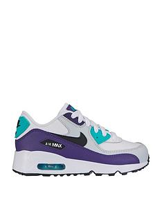 info for b4ef9 bd454 Nike Air Max 90 Leather Childrens Trainers - White Black Green