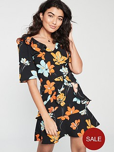b40e694a4ad V by Very Printed Ruffle Detail Tea Dress - Multi