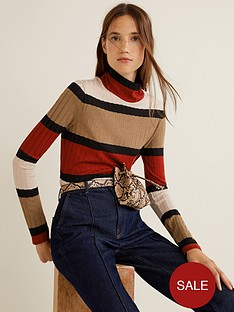 mango-knitted-striped-top-brownnbsp