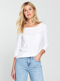 a6d8c5bade64c9 V by Very Three-quarter Sleeve Perfect T-shirt - White